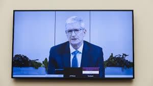 PHOTOGRAPH: Apple CEO Tim Cook testifies before the House Judiciary Subcommittee on Antitrust, Commercial and Administrative Law, at Capitol Hill in Washington DC.||MANDEL NGAN/AFP/BLOOMBERG/GETTY IMAGES