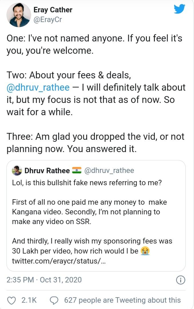 Tweet reply of Dhruv