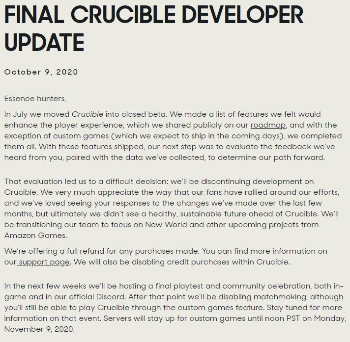 Crucible shut down november 9th